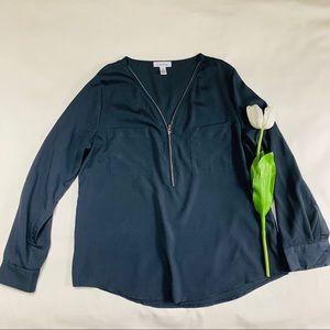 Calvin Klein Half Zip Roll Up Sleeve Blouse